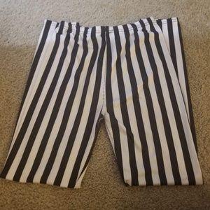 Pants - Black and White Vertical Striped Leggings, Sm/Med